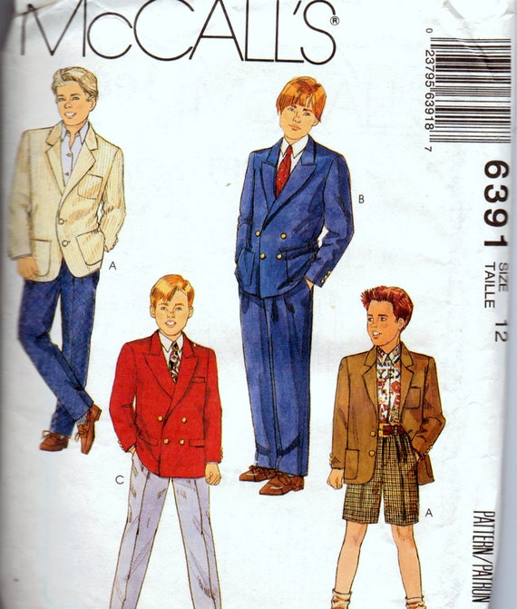 Sewing Pattern McCall's 6391 Boys' Suit Size12 Uncut Complete
