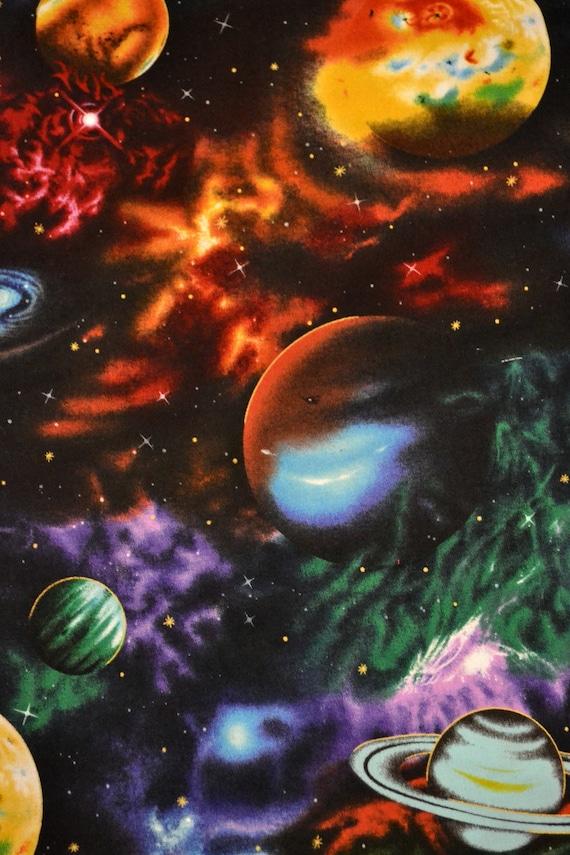 Fabric fat quarters star gazer solar system all cotton for Solar system fabric