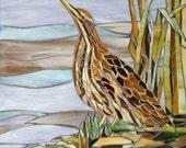 Mosaic Bittern Card - Mosaic Art - Booming Bittern Reed Beds Mosaic