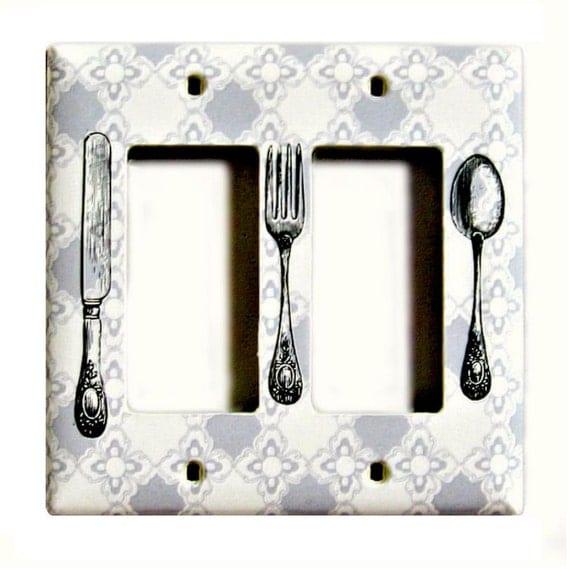 Knife Fork Spoon Double Light Switch on Gray Geometric Pattern - Kitchen Dining Room Silverware Wall Decor - Rocker Decora