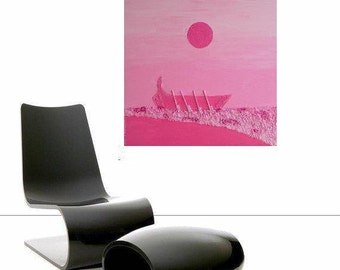 """Bali - Boat on Beach at  Sunrise... original painting, collage, 19.7x19.7"""", 50x50 cm, acrylic, wood, boat, beach, asia, abstract, fantasy"""