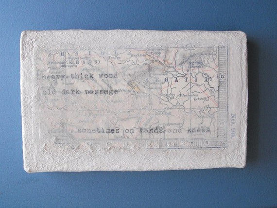no.90- original mixed media collage art upcycled antique map mini- handmade by Luluanne