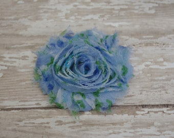 Chiffon Flower Hair Clip Blue Floral Print Frayed Shabby Chic Rosette Fabric Flower Clippie