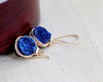 Druzy Gold Earrings , Cobalt Blue Agates Bezel Wrapped Drops in 14k Gold Filled , Gift Ideas