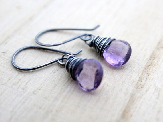 Amethyst Earrings In Sterling Silver,  Wire Wrapped AAA Gemstones, February Birthstone, Purple Fashion