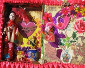 Happy Valentines Day Art Collage Keepsake Display Cigar Box Sits on Table Or shelf and Hangs