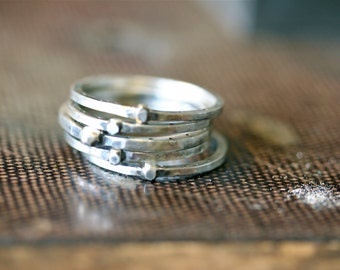 Set of Five Industrial Square Sterling Silver Stacking Rings Free Domestic Shipping