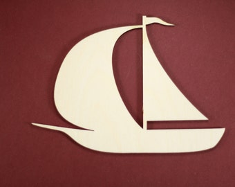 Sailboat Shape Unfinished Wood Laser Cut Shapes Crafts Variety of Sizes