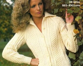 Vintage Ladies Aran Jacket, Knitting Pattern, 1960 (PDF) Pattern, Marriner 1864