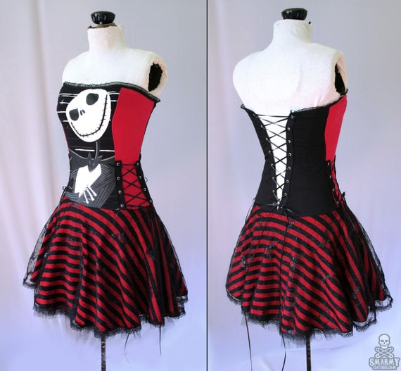 custom Nightmare Before Christmas striped corset dress - smarmyclothes