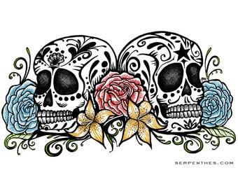 Dos Calaveras // 8x10 Color Sugar Skull fine art print