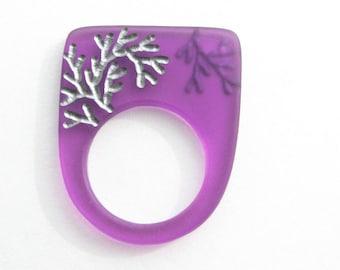 Modern Acrylic Ring Plexi Amethyst Violet Purple Silvery Branches Gardener Simple 9.25
