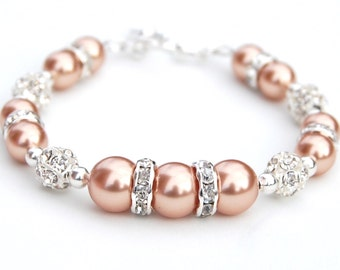 Rose Gold Pearl Rhinestone Bracelet, Bridesmaid Jewelry, Bling Bracelet, Bridal Gift, Wedding Jewelry