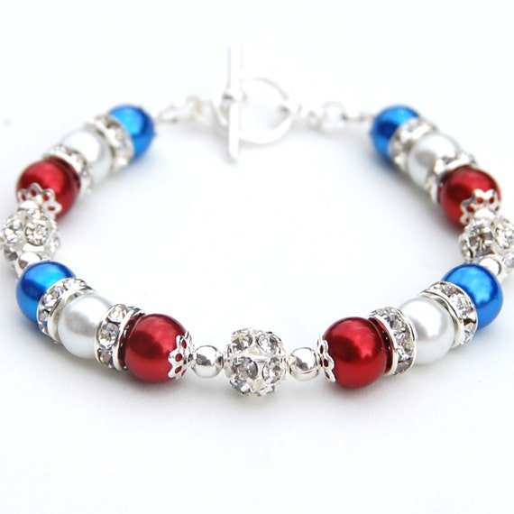 Red White and Blue Pearl Bracelet, Patriotic Bracelet, Pearl Rhinestone Jewelry, Bridesmaid Jewelry