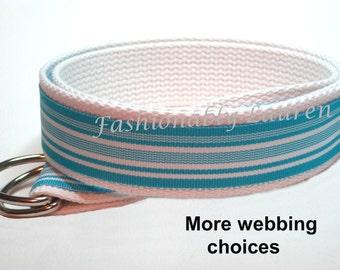 Blue White Striped Belt / Ribbon Belt / D-ring Belt for women men boys girls - Miami Waves