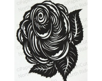 Rose Papercut ACEO, Handcut Original