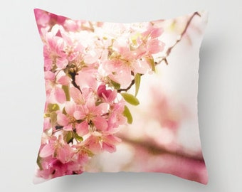 decorative pillow cover- home decor- photo pillow- nature photo- pink flowers- white-spring-feminine decor-pretty pillow