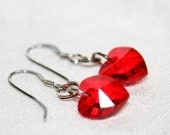 Heart Shaped Swarovski Crystal Earrings - Valentines