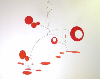 Modern Kinetic Mobile - Hanging Mobile - The Nebula, Bright Red