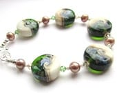 Lampwork Glass and Pearl Bracelet: Emerald Seas