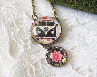VW Van Flower Antique Brass Necklace