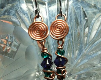 Copper and beaded Mardi Gras New Orleans earrings matches my Mardi Gras Necklace
