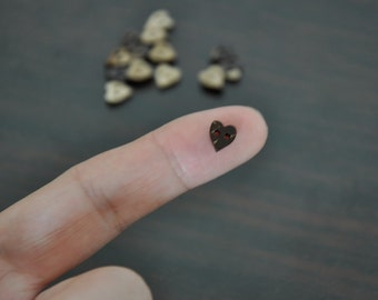 7mm Tiny Coconut Heart Buttons
