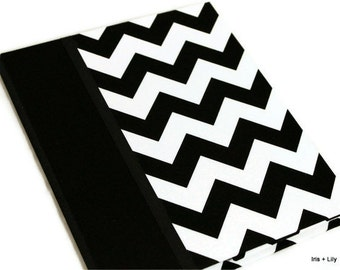 Kindle Fire HD Cover, Nexus 7, Nook Tablet HD Cover, Kindle Fire Case Stand, Personalized, Riley Blake Chevron in Black/White