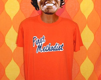 80s vintage tee first METHODIST number 7 baseball church team uniform t-shirt Large orange
