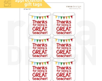 Teacher Appreciation Gift Tags Printable - Printable Gift Tags - Thank you Tags