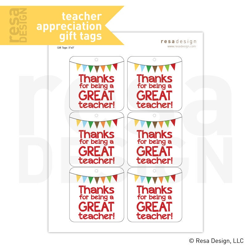 Teacher Appreciation Gift Tags Printable Printable Gift Tags