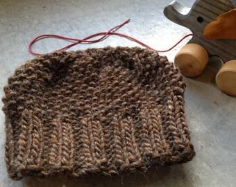 Moss Stitch Baby Cap in rustic brown