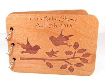 Songbird Baby Shower Guest Book - Real Wood Engraved Cover - Personalized