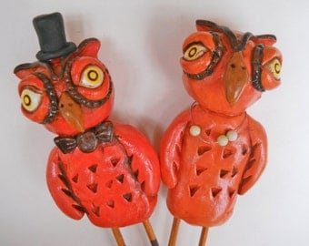 SALE!!! Tangerine and Brown Owls Wedding cake topper  for your Rustic autumn Wedding Ready to ship