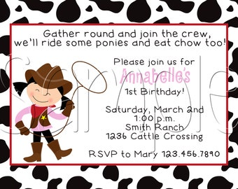 25 5x7 Cowgirl Birthday Party Invitations