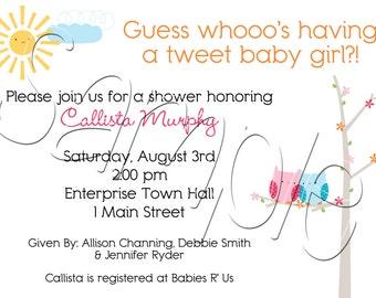 Custom Printable Owl Baby Shower Invitation