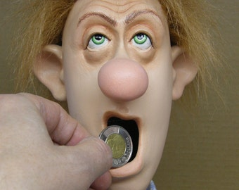 The yawning dude - handcrafted Piggy bank  Money box  Coin bank