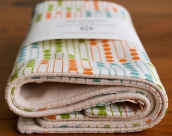 On Sale, save 20%; Organic Burp Cloth, Set of Two in GRIDLOCK, Spit Happens Burp Cloths Gift Set of 2 by Organic Quilt Company, Last Set