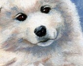 White Puppy Akita Original aceo 2.5x3.5 inch oil painting