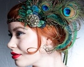 Absinthe Nymph Flapper Headband Peacock Feather Headband 1920s