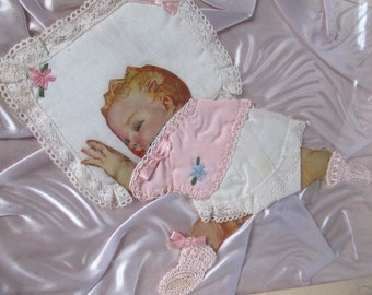 SALE Vintage 1940's Handmade Pink Satin Sleeping Baby Girl Picture Was 29.99 Now 24.99