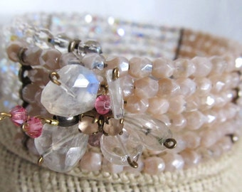 Sale Vintage 1940's Cuff, Aurora Borealis & Pink Crystal, Prom Wrap Was 45.00 Now 32.99