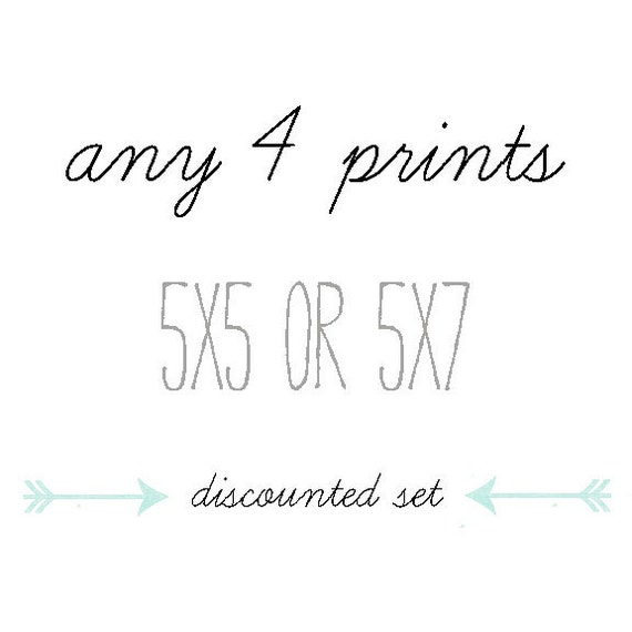 DISCOUNTED SET, You Choose Any Four 5x5 or 5x7 Prints, Your Choice of 4 Photographs, Instant  Art Collection, Fine Art Home Decor