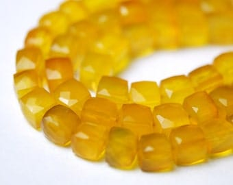 Yellow faceted chalcedony 3D cubes 20.00