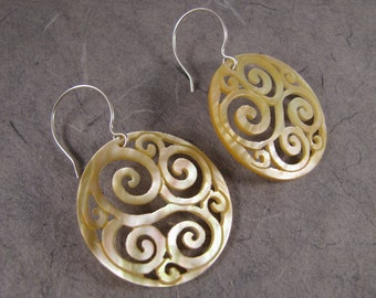 Spiral Carved Mother of Pearl Earrings