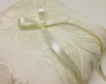 Ring Bearer Pillow, Wedding, Ivory Cream on Sheer Lace Brocade