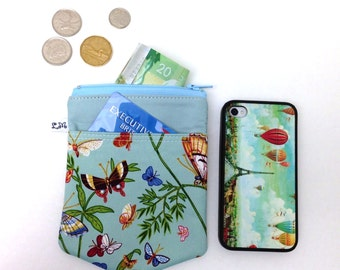 Zipper Pouch, Coin Purse, Pocket, iPhone Pouch - Butterflies in Nature on Blue