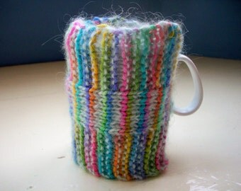 knit mug hug mug warmer cup cozy rainbow stripes