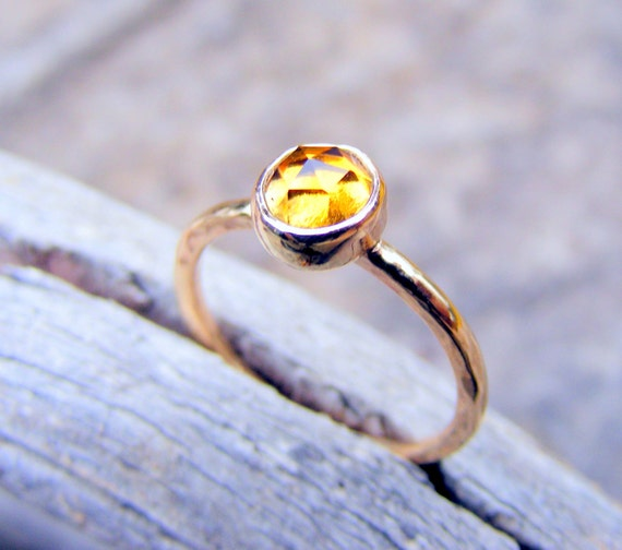 Citrine Gold Stacking Ring - Handcrafted In Solid 14k Gold With Rose Cut Citrine Gemstone -mothers Ring - November Birthstone Jewelry