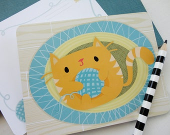 Postcard Pack : Kitten with Yarn